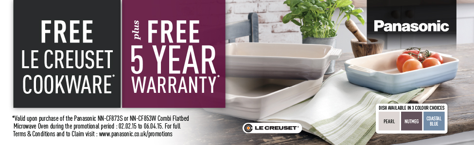 Free Le Creuset Cookware plus Five Year Warranty