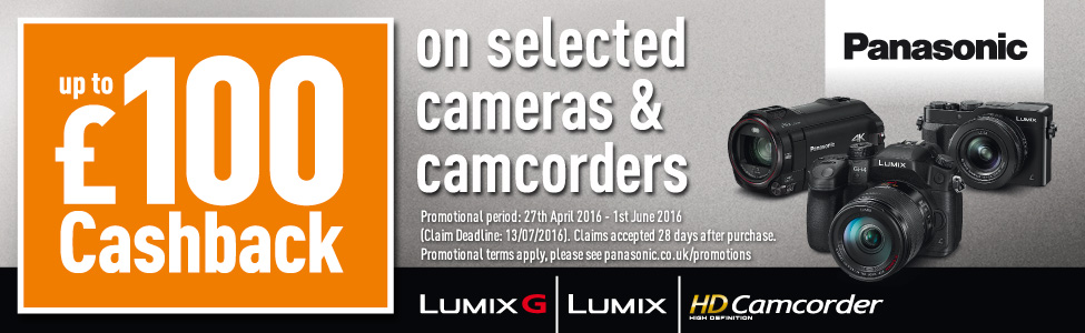 Up to £100/€140 cashback on selected cameras and camcorders